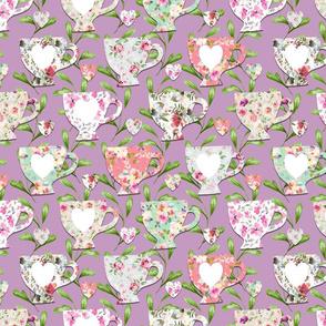 Chintz Teacups Purple