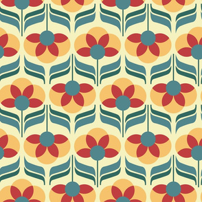 jewel retro flowers - faded