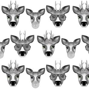 Happy Deer Family Black&White