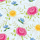 romantic exotic chintz roses light blue