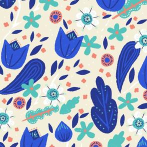 Modern Oversize Chintz Floral M+M Vanilla Ocean by Friztin