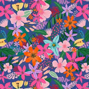 Pink flowers and navy / nursury fabric / Small