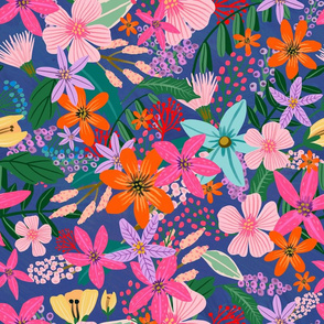 Pink flowers and navy / nursury fabric / Large