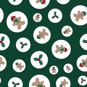 Green holly and Gingerbread men pattern