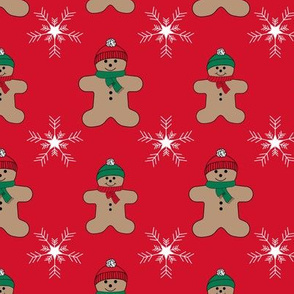 red gingerbread man in snow pattern