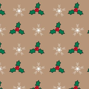 Snowflakes and holly pattern