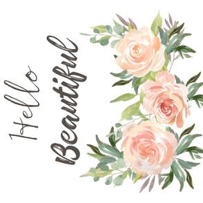 "42""x36"" Peach Roses Hello Beautiful"