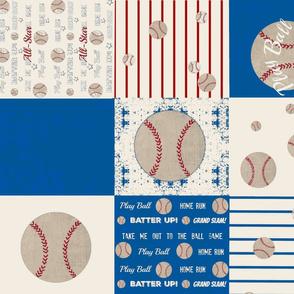 baseball quilt ocean cream 21 - wholecloth