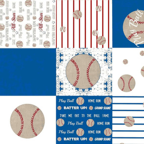 baseball quilt ocean white 21 - wholecloth