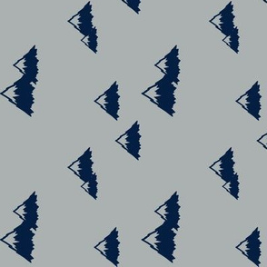 Mountains - navy on grey (northern lights) (90) C19BS