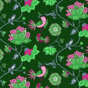 bird chintz  green/pink