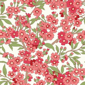 Pink red floral branches