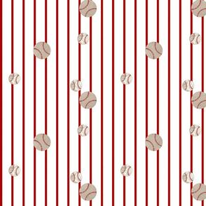 baseball toss stripes 97- red on white