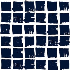 batik windowpane grid in indigo on white