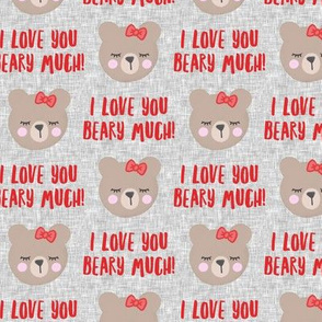 I love you beary much! - red w/bow - valentines day - LAD19