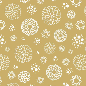 Circle Flowers White on Gold