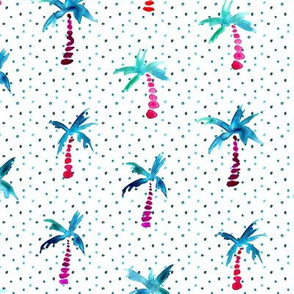 Watercolor palms with lots of dots • cute summer design for nursery