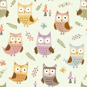 Woodland owls and plants pattern