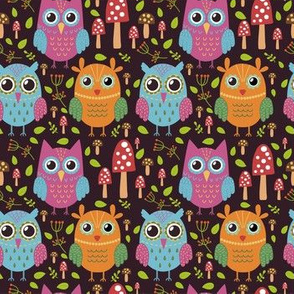 Colorful funny owls repeat