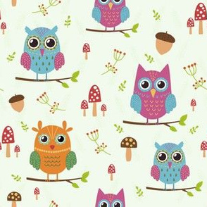Forest owls sitting on the  branches