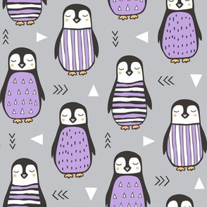 Penguins with Sweater Geometric  and Triangles  Purple Grey