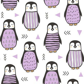 Penguins with Sweater Geometric  and Triangles Purple on White