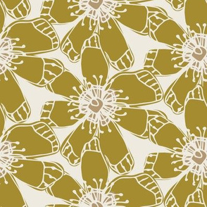 Linear Olive Green and Tan Cream/WhiteFlower