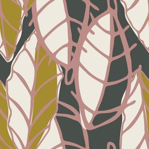 Linear Leaf, Leaves, Charcoal, White, Cream, Olive Green and Pink