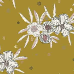 Linear flower floral contemporary hand-drawn repeating pattern olive green pink grey charcoal white