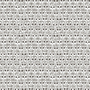 Doodle owls black and white pattern. Coloring print
