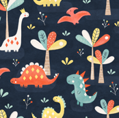 Dino jungle in navy