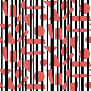 black, red, white mix