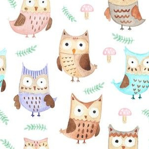 Watercolor funny owls and plants