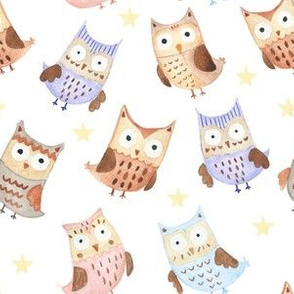 Watercolor owls and stars