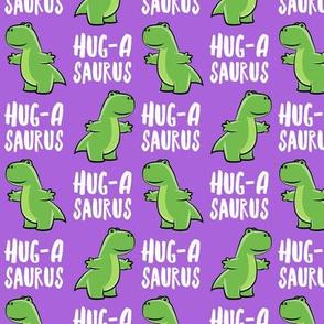 Hug-a-saurus - valentines hug dinosaur - trex on purple - LAD19