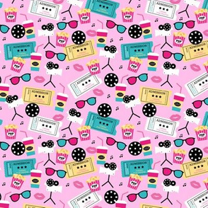 Let's go see a movie film theater illustration pattern pink