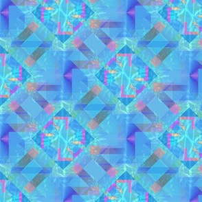Bright Blue Kaleidoscope with leaves
