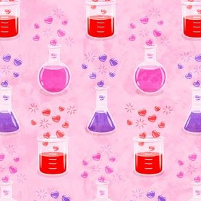 love potion - science valentines on pink - LAD19