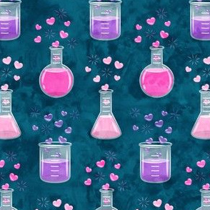 love potion - science valentines on teal - LAD19