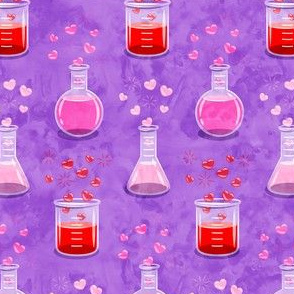 love potion - science valentines on purple - LAD19