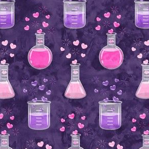 love potion - science valentines on dark purple - LAD19