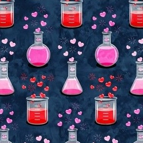 love potion - science valentines on blue- LAD19