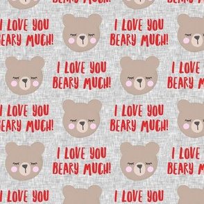 I love you beary much! - red  - valentines day - LAD19