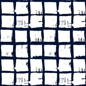 batik windowpane grid in white on indigo