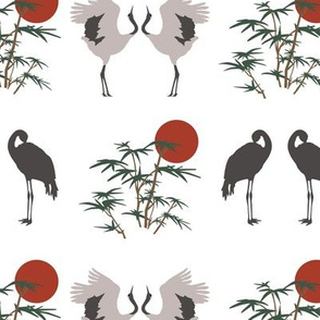 Cranes and Bamboo on White