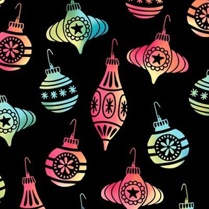 Colorful Christmas Ornaments on Black