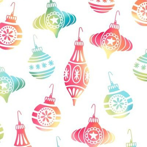 Colorful Christmas Ornaments on White