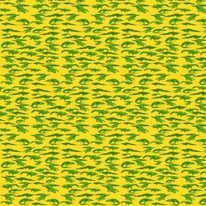 Sm Alligators on Yellow by DulciArt,LLC