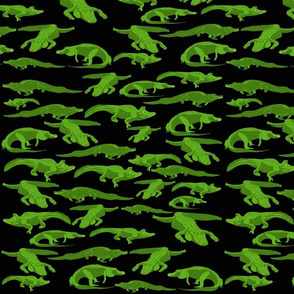 Lg Alligators on Black by DulciArt,LLC