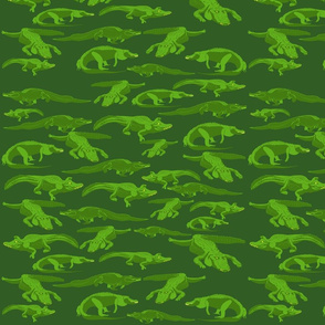 Lg Alligators on Green by DulciArt, LLC